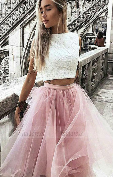 two pieces lace short prom dress, homecoming dress,BD99028