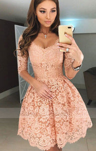 A-Line Scoop Half Sleeves Short Apricot Lace Homecoming Dress,BD99516