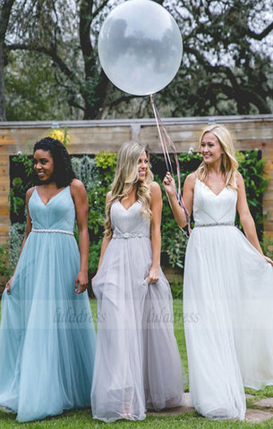 Long Bridesmaid Dress, Tulle Bridesmaid Dress, V-Neck Bridesmaid Dress,BD98993