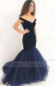 Mermaid dark blue long prom dress, velvet evening dress,BD99009