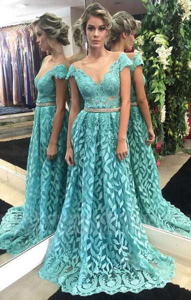 luxury mint prom dresses modest long party dresses unique a line sheer tulle evening gowns,BD98776