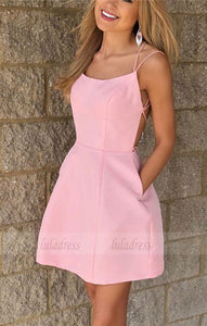 Cute A-line Cross Back Satin Homecoming Dresses Short Pink Prom Satin Dress,BD98406