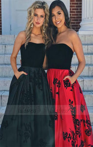 A-Line Strapless Black Satin Prom Dress with pocket,BD98634