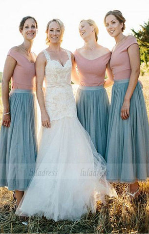 A-Line Pleated Bridesmaid Dress, Off the Shoulder Bridesmaid Dresses, Sage Bridesmaid Dresses,BD98291
