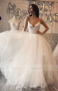 Charming A-Line V-Neck White Tulle Long Prom/Wedding Dress with Lace Appliques,BD98182