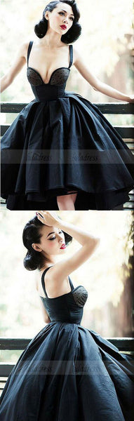 Vintage A-Line Straps Black Satin High Low Homecoming/Prom Party Dress,BD98176