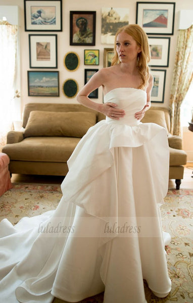 Strapless A Line wedding Dresses Satin Simple Charming Bridal Dresses,BD99628