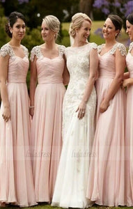 elegant Scoop Cap Sleeves wedding party dresses, Floor-Length Pink classic Bridesmaid Dress,BD98278