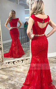 Two Piece Off-the-Shoulder Open Back Red Lace Prom Dress with Beading,BD99554