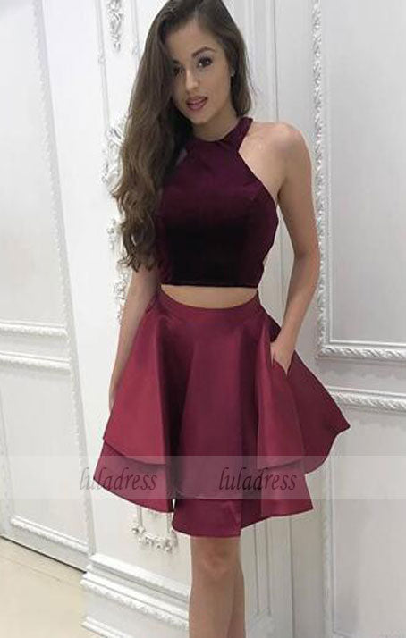 Short Homecoming Dresses Halter Neck Cap Sleeves Pleats A-line Satin Graduation Sexy Cocktail Party Gowns,