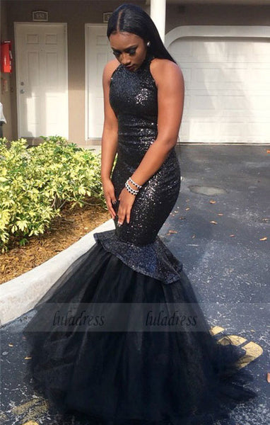 Black High-Neck Tulle Sexy Mermaid Sequins Gorgeous Sleeveless Prom Dress,BD99909