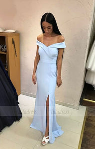 Light Blue Bridesmaid Dress,Mermaid Evening Gowns,Slit Prom Dress,Off Shoulder dress,BD98136
