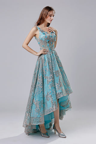 High Low Blue Floral Prom Dress Charming Party Dress, LX524