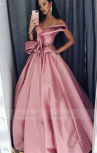 A-Line Sweetheart Floor-Length Pink Satin Prom Dress with Ruffles,BD98664