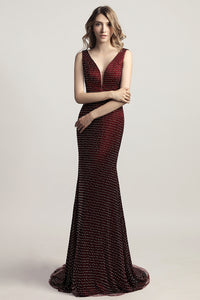 Formal burgundy beaded v-neck long formal evening dress, LX473