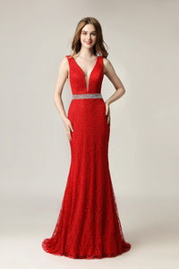 Red Lace Formal Mermaid Long Evening Dress, LX505