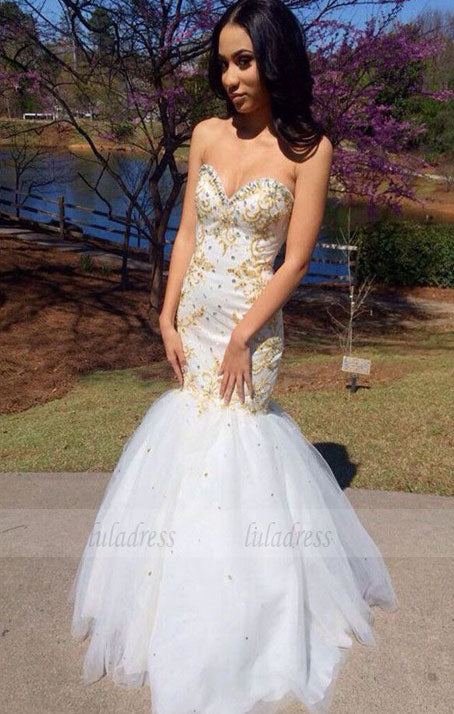 Mermaid Sweetheart Tulle Floor-length with Beading Prom Dresses,BD98663