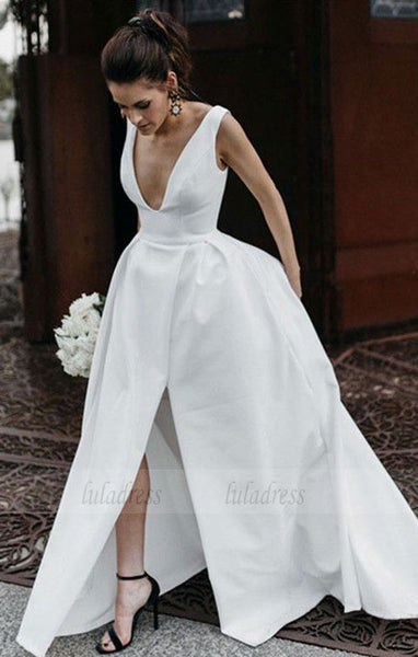 Sexy Leg Split Plunge V-neck Long Satin Wedding Dresses,BD99647