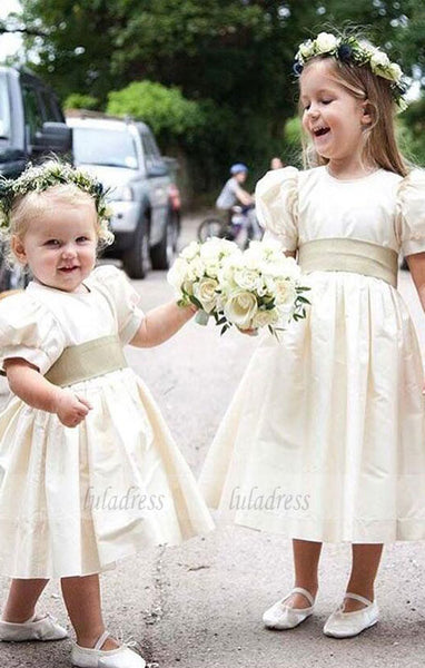 Short Sleeve Tea Length Girl Birthday Wedding Party Formal Flower Girls Dress baby Pageant dresses ,BD99410