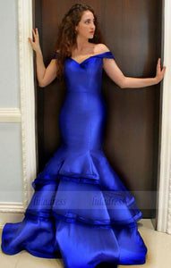royal blue evening gowns off the shoulder mermaid prom dresses,BD98138