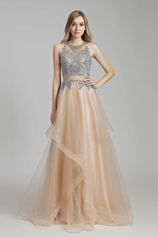 Chic Lace Appliques A-line Long Prom Dress, LX490