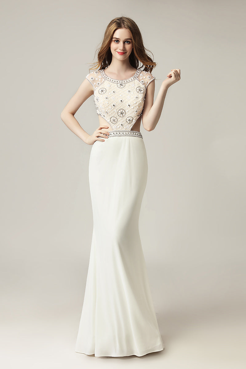 Charming Cap Sleeves Elegant Long Evening Prom Dress, LX433