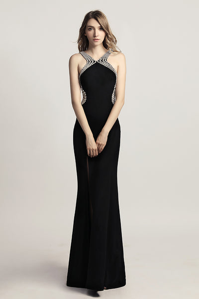 Green & Black Sexy Backless Long Evening Dress With Side Slit, LX451