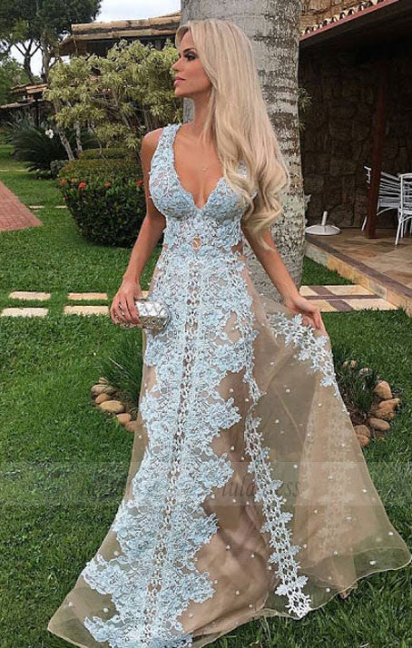 Tulle Floor-Length Long V-neck Amazing Lace Prom Dress,BD99910