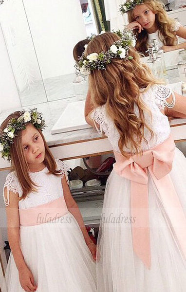 Lace Pink Sash Girl Birthday Wedding Party Formal Flower Girls Dress baby Pageant dresses,BD99411