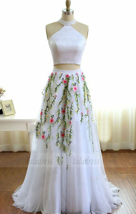 High Neck White Prom Dress with Beading Embroidery, Two Piece Formal Dress,BD98660