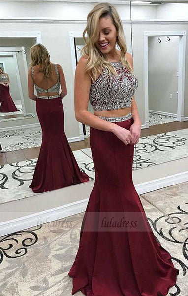 Two Piece Crew Backless Sweep Train Burgundy Prom Dress with Beading,BD99556