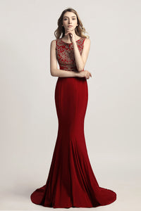 Long Mermaid Beaded Prom Dress Charming Sleeveless Party Dress, LX444