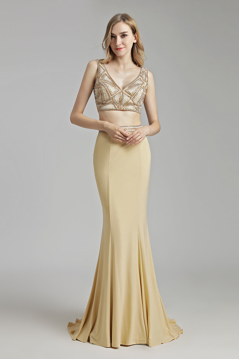 Two Pieces V-neck Beaded Top Long Prom Dress, LX489