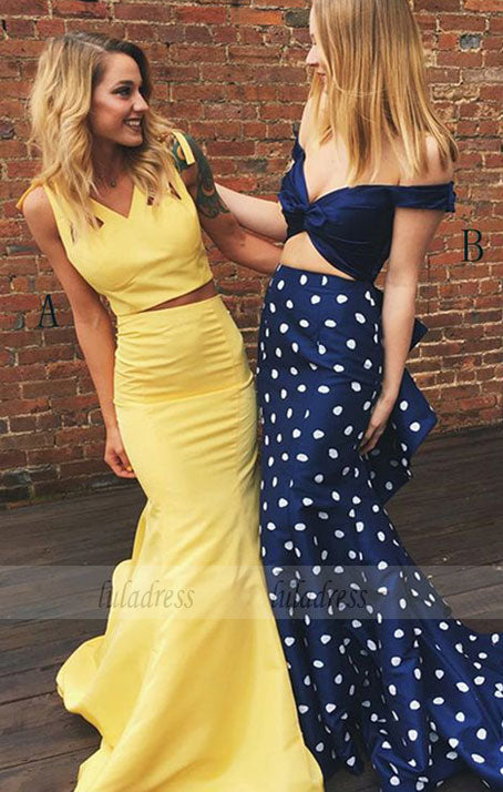 Two Piece V-Neck Sweep Train Yellow Satin Prom Dress with Ruffles,BD99557