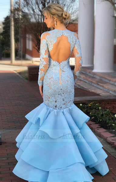 Elegant Lace Long Sleeves Open Back Mermaid Evening Dresses,BD98142