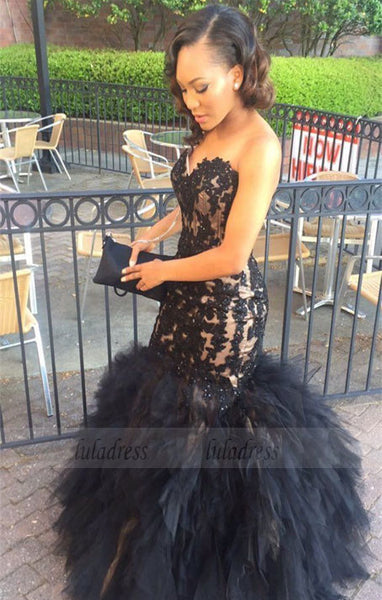 Sweetheart Lace Appliques Mermaid Black Sleeveless Tulle Ruffles Puffy Prom Dress,BD99911