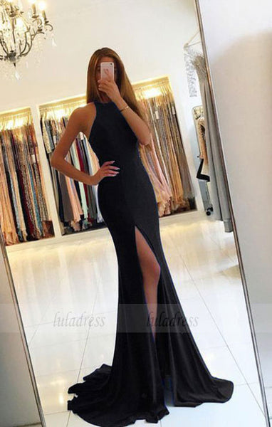 sexy split long jersey black mermaid evening dress backless prom gowns,BD98143