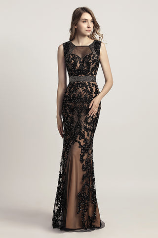Charming Black Appliques With Beading Mermaid Long Evening Dress, LX463