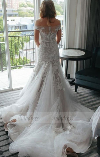 Lace and Tulle Wedding Dresses, Sexy Wedding Dresses, Tulle Wedding Dress with Appliques,BD99610