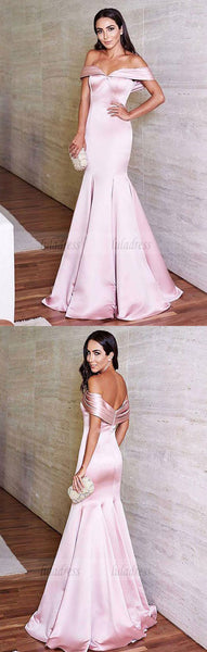 Off the Shoulder Satin Mermaid Prom Evening Dresses,BD98497