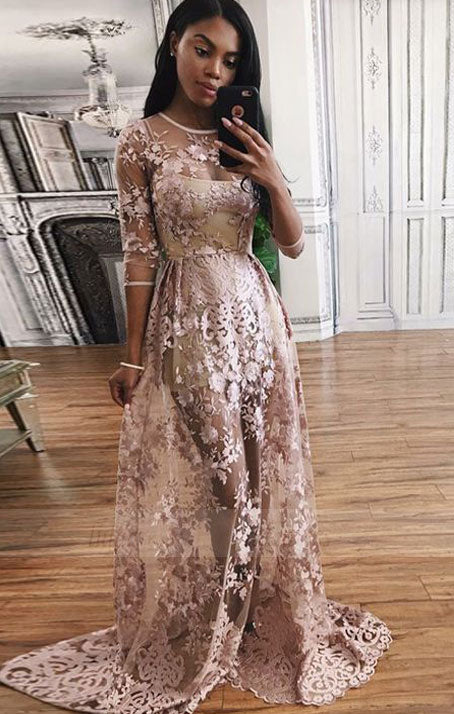 fashion prom party dresses with appliques, chic blush evening gowns with long sleeves for special occasion,BD98647