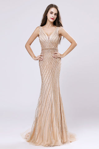 Formal V-neck Mermaid Beaded Long Evening Dress, LX495