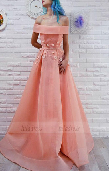 off the shoulder pink prom dress with appliques,elegant a-line off the shoulder party dress with sash,BD99079