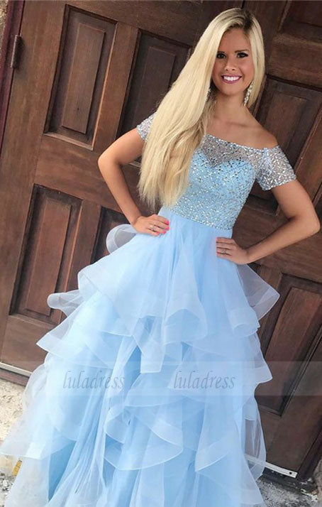 Off Shoulder Beaded Prom Dress,Elegant Homecoming Dress,BD99013