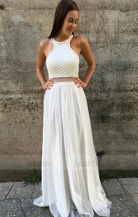Two Piece Jewel Long Prom Dress with Pearls,BD99004