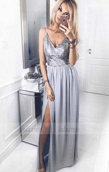 A-Line Spaghetti Straps Floor-Length Prom Dress with Sequins Split,BD99543