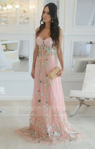 long prom dresses, simple sweetheart party dresses with appliques, elegant evening gowns with flowers,BD98753