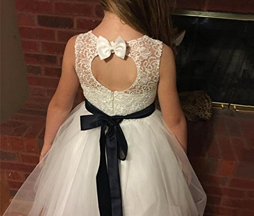 Princess Keen-length Lace Appliques Tulle Flower Girl Dresses,BW97225