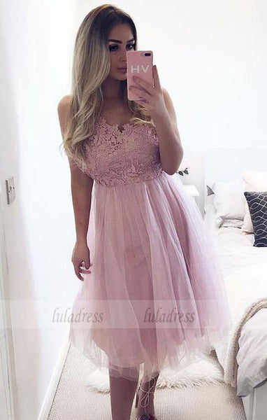 A-Line V-Neck Knee-Length  Homecoming Dress with Lace,BD99517