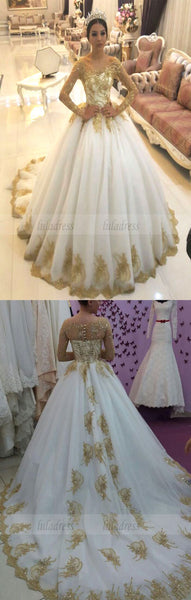 Gold Lace Appliques White Tulle Long Sleeves Bridal Ball Gown Wedding Dresses,BD99826